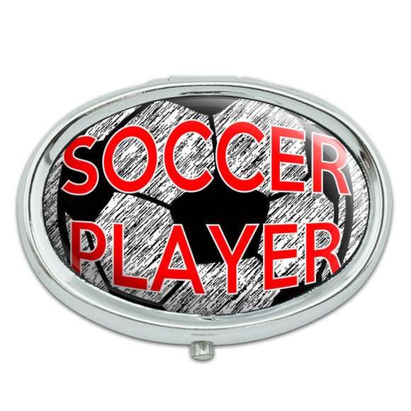 Soccer Player Sports on the Field Metal Oval Pill Case Box