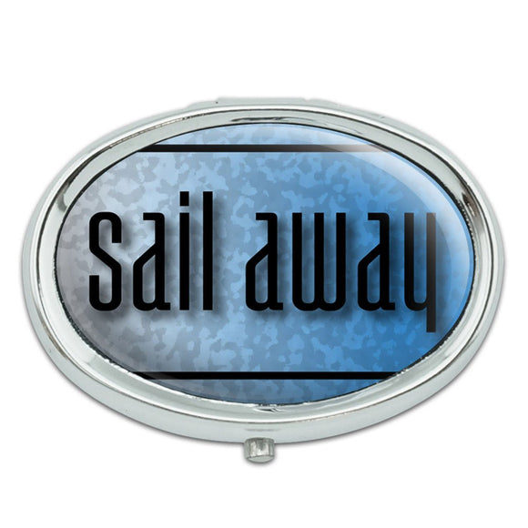Sail Away the Ocean Blue is Calling Metal Oval Pill Case Box