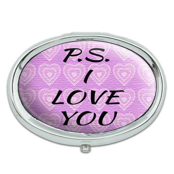 PS I Love You on Pink Hearts Pattern Metal Oval Pill Case Box