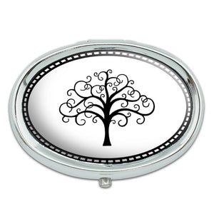 Tree of Life Metal Oval Pill Case Box