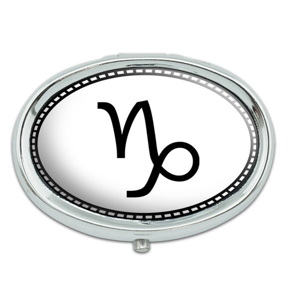 Zodiac Sign Capricorn Metal Oval Pill Case Box