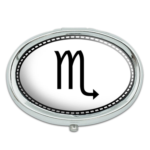 Zodiac Sign Scorpio Metal Oval Pill Case Box