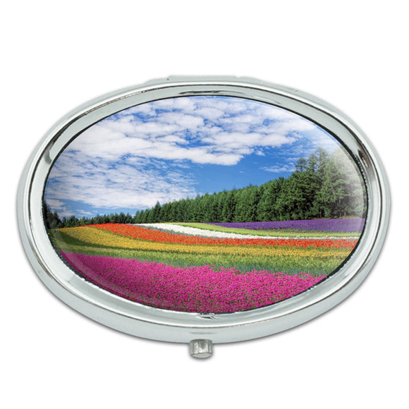 Flower Garden Field Metal Oval Pill Case Box