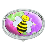 Busy As A Bee Watercolor Metal Oval Pill Case Box