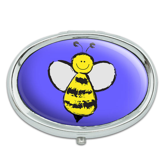 Busy As A Bee Metal Oval Pill Case Box
