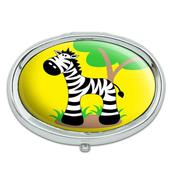 Zebra And Tree Cute Metal Oval Pill Case Box