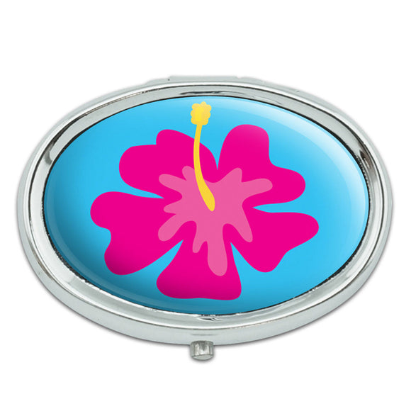 Tropical Flower Hibiscus Pink Metal Oval Pill Case Box
