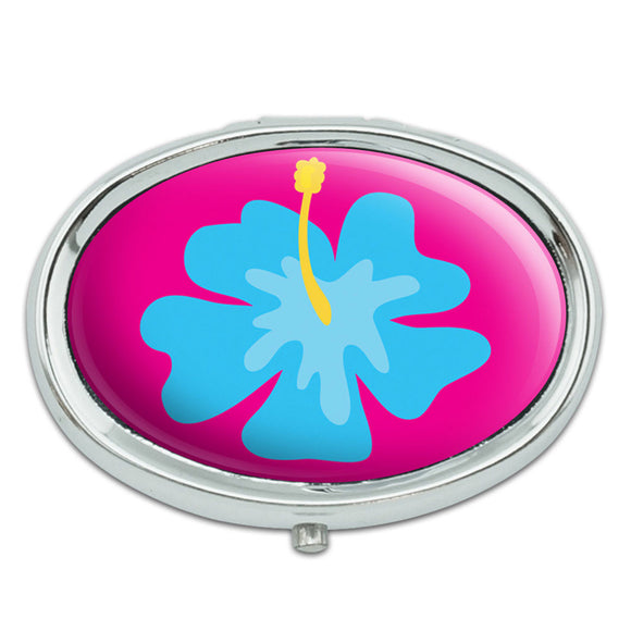 Tropical Flower Hibiscus Blue Metal Oval Pill Case Box
