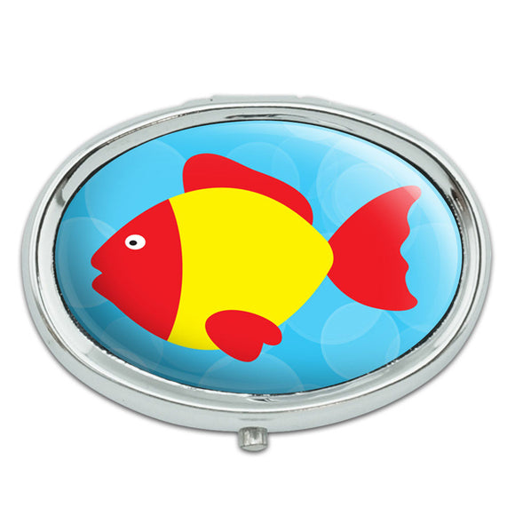 Tropical Fish Red Yellow Metal Oval Pill Case Box