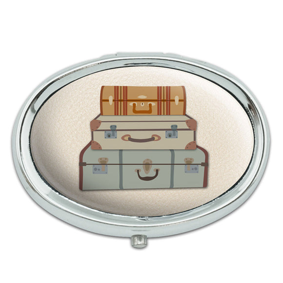 Vintage Luggage Suitcase Travel Metal Oval Pill Case Box