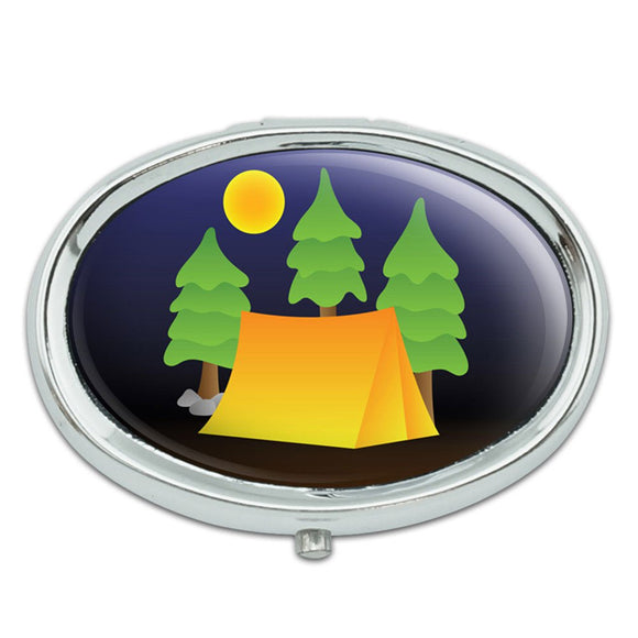 Tent Camping Nature Tree Metal Oval Pill Case Box