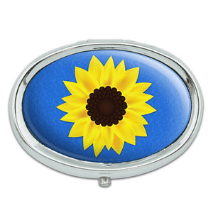 Sunflower Blue Background Metal Oval Pill Case Box