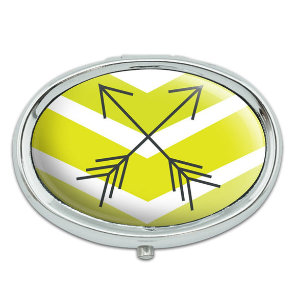 Yellow Chevrons & Arrows Metal Oval Pill Case Box