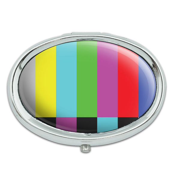 Test Television Color Bars Metal Oval Pill Case Box