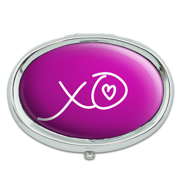 XO Hugs Kisses Love Metal Oval Pill Case Box