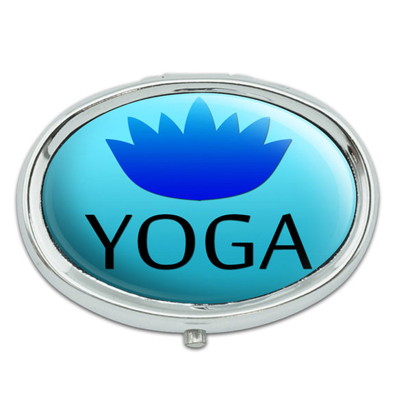 Yoga Lotus Flower Metal Oval Pill Case Box