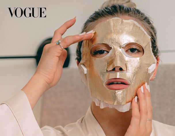 FRANZ Saint 21 Gold Mask & Wrinkle Away Gold Eye Mask featured in VOGUE