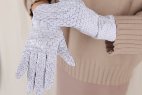 If you notice any dry spots, apply more Essence over the gloves in that area.