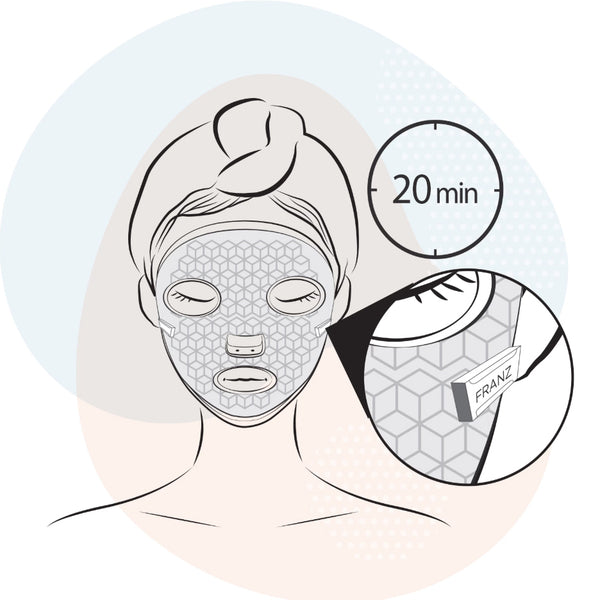 Add the Boosting Essence Serum to the Ion Cell of the dry mask and layer it over the wet mask.