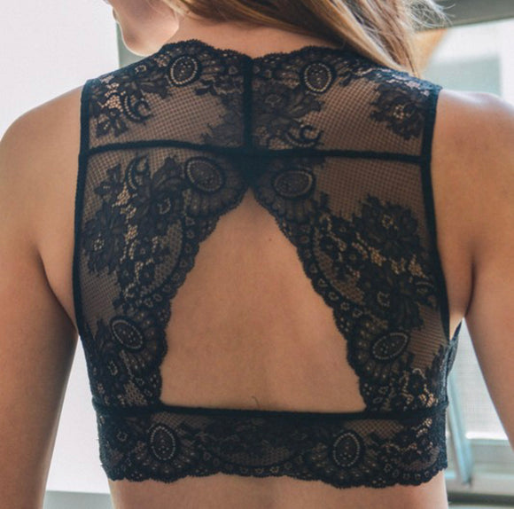 Black Lace Keyhole Back Bralette - Face 2 Soul Beauty Boutique