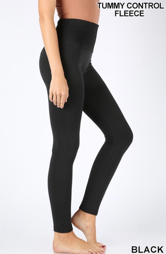 High Waisted Fleece Black Leggings - Face 2 Soul Beauty Boutique