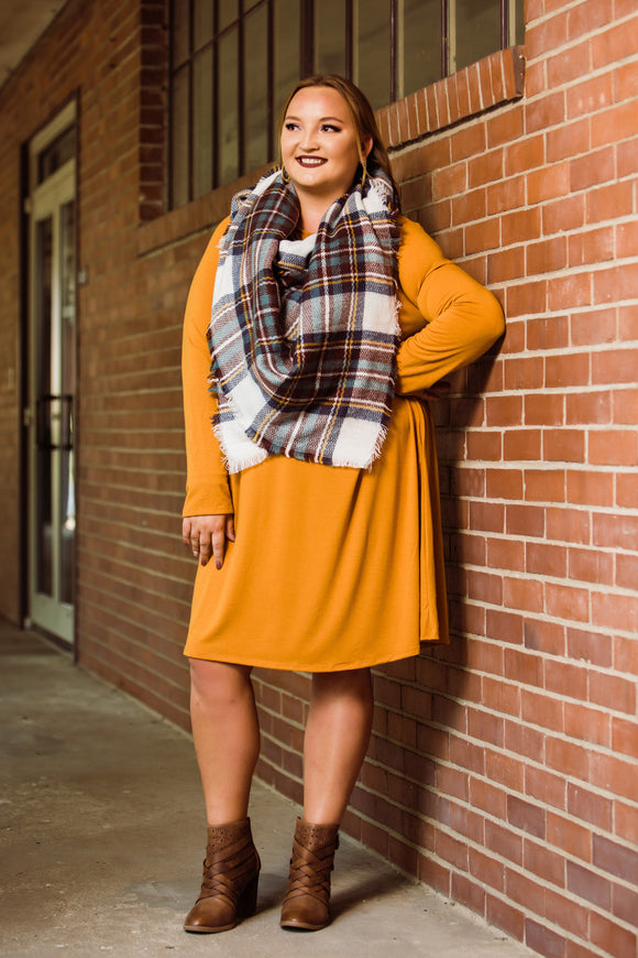 The Desert Mustard Layla Longsleeve Dress - Face 2 Soul Beauty Boutique