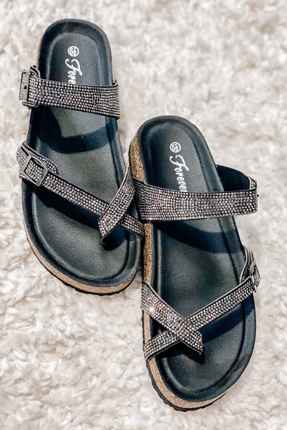 Black Rhinestone Comfort Burk Sandal - Face 2 Soul Beauty Boutique