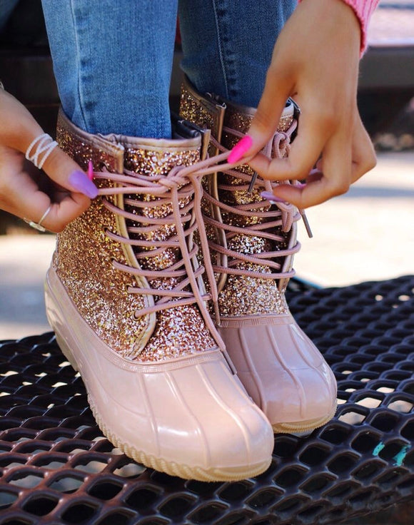 Rose Gold Glitter Duck Boots - Face 2 Soul Beauty Boutique