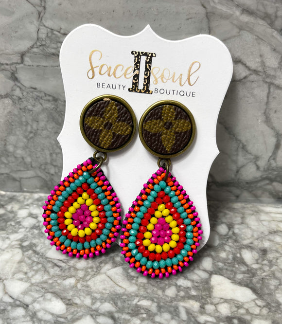 Multi Color Beaded Tear Drop Upcycled LV earrings - Face 2 Soul Beauty Boutique