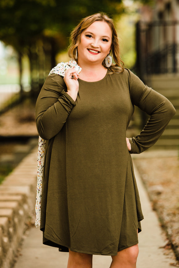 Dark Olive Layla Longsleeve Pocket Dress - Face 2 Soul Beauty Boutique