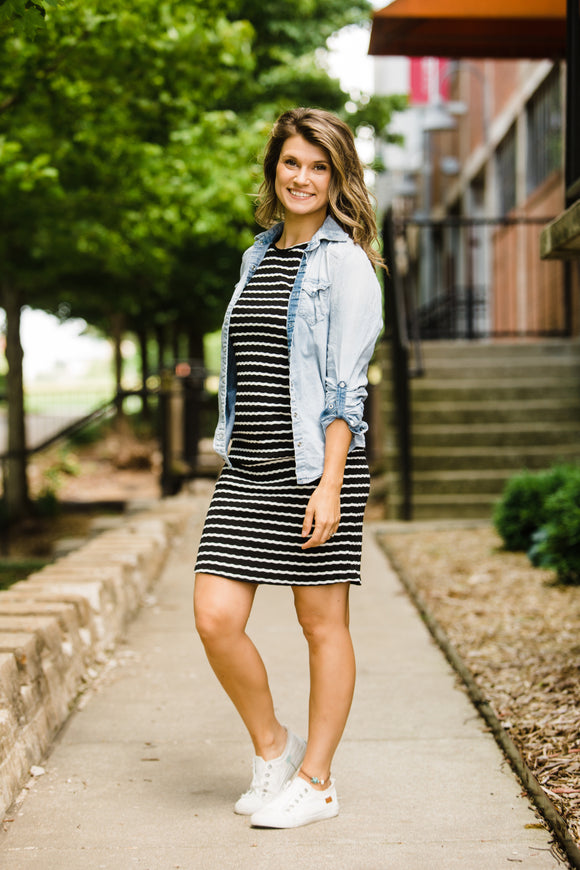 Full Of Happiness Black Striped Dress - Face 2 Soul Beauty Boutique