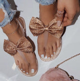 Nude Sequin Bow Sandals - Face 2 Soul Beauty Boutique