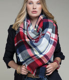 Blue & Red Blanket Scarf - Face 2 Soul Beauty Boutique