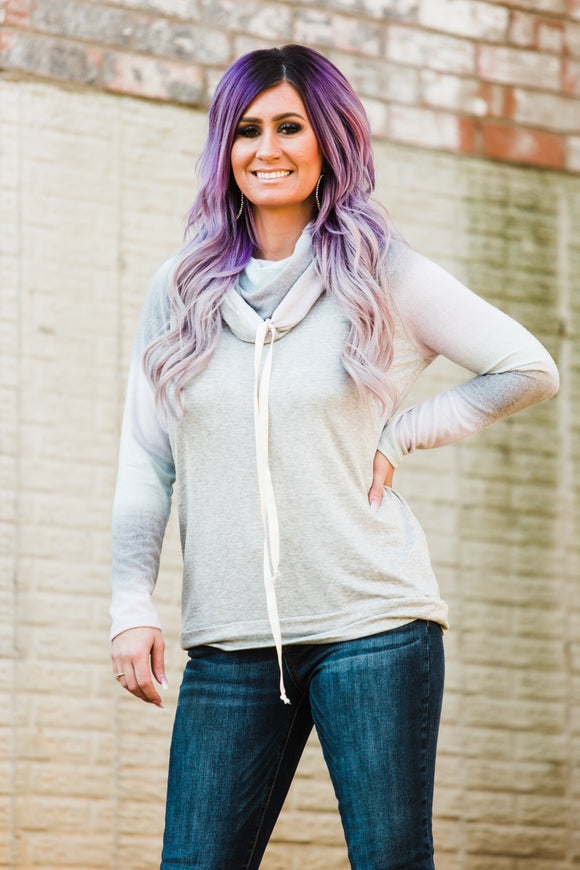 Lavender Sage & Charcoal Ombré Sleeve Cowl Neck - Face 2 Soul Beauty Boutique