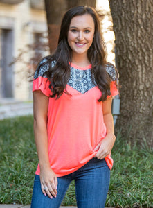 Eyes On Me Neon Coral Top w/ Snakeskin Accents - Face 2 Soul Beauty Boutique