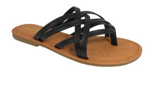 Black Multi Strap Flip Flops - Face 2 Soul Beauty Boutique
