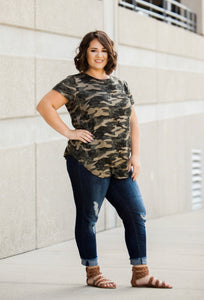 French Terry Camo Print Top - Face 2 Soul Beauty Boutique
