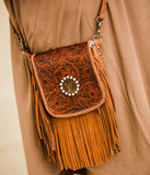 Leather Upcycled LV Fringe Bag w/ Crystal Accent - Face 2 Soul Beauty Boutique