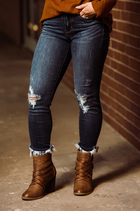 Dark Wash Cuffed Skinny Jeans - Face 2 Soul Beauty Boutique