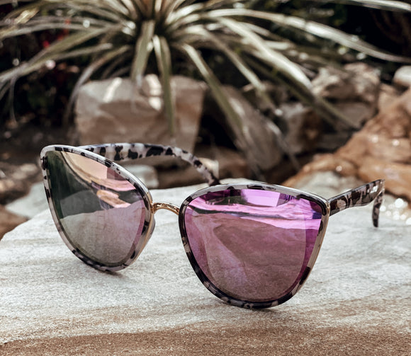 The Aria Cat Eye Sunglasses with Purple Lens & Tortoise Frame - Face 2 Soul Beauty Boutique