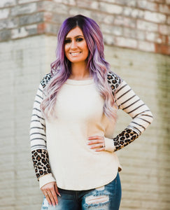 Oatmeal Leopard & Stripes Longsleeve - Face 2 Soul Beauty Boutique