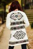 Ivory Long Cardigan with Aztec - Face 2 Soul Beauty Boutique