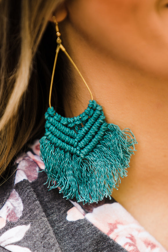 Blue Ole Thread Fish Hook Earrings