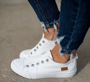 White Smoked Canvas Blowfish Sneakers - Face 2 Soul Beauty Boutique