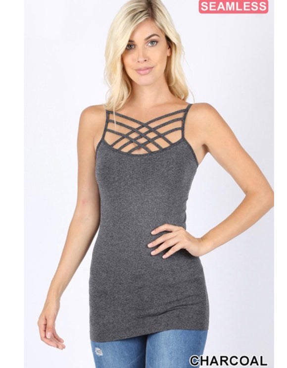Charcoal Criss Cross Cami - Face 2 Soul Beauty Boutique