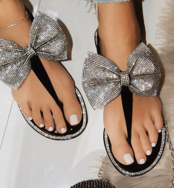 Black Bow Sandals - Face 2 Soul Beauty Boutique