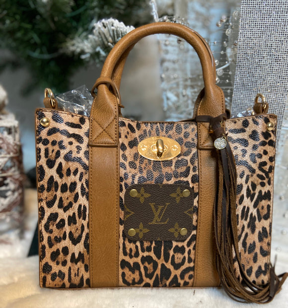 The Light Brown Leopard Emilee Bag with Upcycled LV - Face 2 Soul Beauty Boutique
