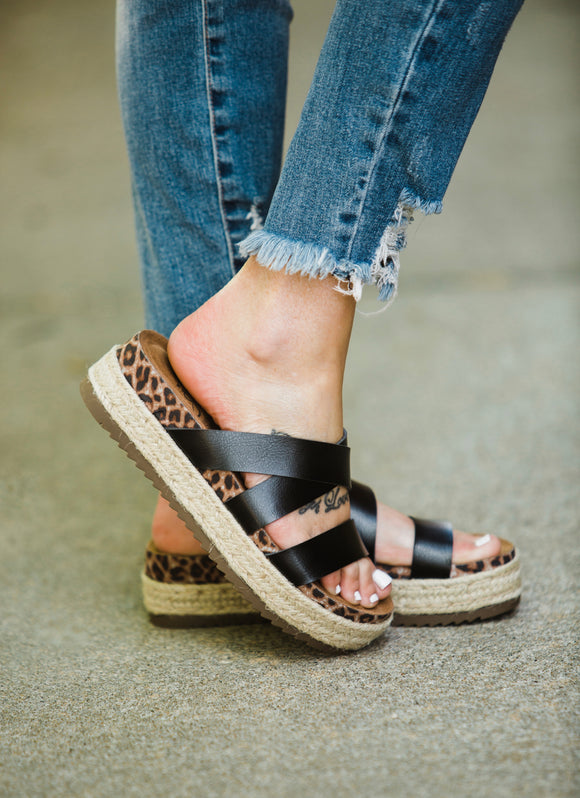 Black & Leopard Lanza Sandals - Face 2 Soul Beauty Boutique