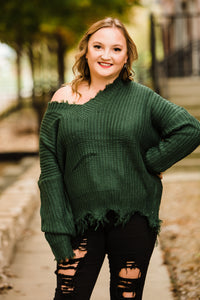 Hunter Green Frayed Vneck Sweater - Face 2 Soul Beauty Boutique