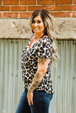 Neon Pink Trim Leopard Vneck Top - Face 2 Soul Beauty Boutique